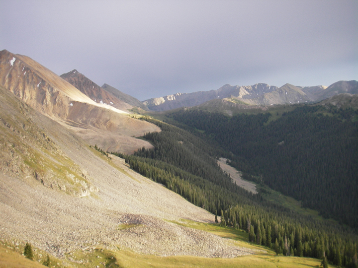 A high elevation view of the timberline and of the valley below the mountain ridge.